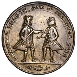 Great Britain, copper-alloy Admiral Vernon medal, 1741, Cartagena / Vernon and Ogle, ex-Jones.