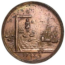 Great Britain, copper-alloy medal, 1744, Naval Action off Toulon / hanging man.