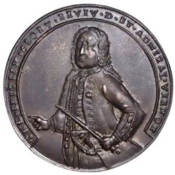 Great Britain, copper-alloy Admiral Vernon medal, 1739, Porto Bello, Vernon alone, ex-Adams.