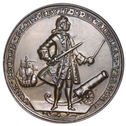 Great Britain, copper-alloy Admiral Vernon medal, 1739, Porto Bello, Vernon and icons, ex-Adams.
