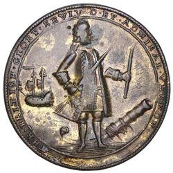 Great Britain, copper-alloy Admiral Vernon medal, 1739, Porto Bello, Vernon and icons, ex-Adams.