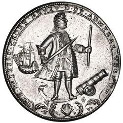 Great Britain, silver-plated copper-alloy Admiral Vernon medal, 1739, Porto Bello, Vernon and icons,