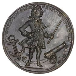 Great Britain, small-size copper-alloy Admiral Vernon medal, 1739, Porto Bello, Vernon and icons, ex