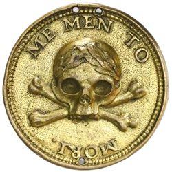 Netherlands (The Hague), cast gilt-brass  memento mori  medal, 1600s, rare, ex-Jaap van der Veen.