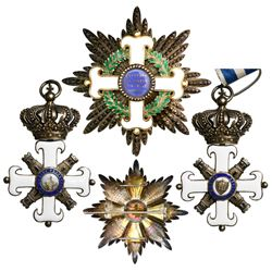 San Marino, gilt silver military decoration (neck badge and breast star), Equestrian Order of Saint