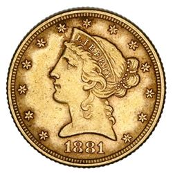 USA (Philadelphia mint), Liberty Head $5, 1881.