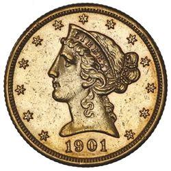 USA (San Francisco Mint), Liberty Head $5, 1901-S, NGC AU 58.