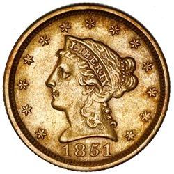 USA (Philadelphia Mint), Liberty Head $2-1/2, 1851, NGC AU 55.