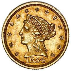 USA (Philadelphia Mint), Liberty Head $2-1/2, 1854, NGC AU 58.