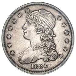 USA (Philadelphia Mint), Capped Bust 25 cents, 1834, O/F in OF and rotated dies error, NGC AU detail