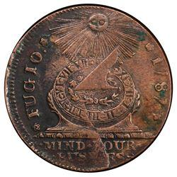 USA, copper Fugio cent, 1787, STATES UNITED, four cinquefoils, pointed rays, PCGS AU50.