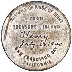 "USA, ""so-called dollar,"" silvered brass token, 1939 Golden Gate Expo, Piece of Eight / Treasure Isla"