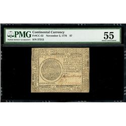 United Colonies, Continental Congress, $7, Nov. 2, 1776, serial 37212, PMG AU 55.