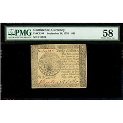 United States, $40, Sept. 26, 1778, serial 78462, PMG Choice AU 58.