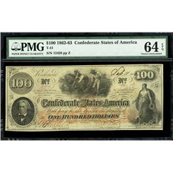 Richmond, Virginia, Confederate States, $100, Sept. 11, 1862, serial 12428, plate position Z, PMG Ch