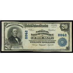 Chicago, Illinois, USA, National Bank of Commerce, $20, series of 1902, plain back, charter 8842, se