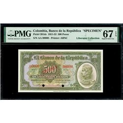 Bogota, Colombia, Banco de la Republica, 500 pesos oro specimen, 1-1-1951, series AA, PMG Superb Gem