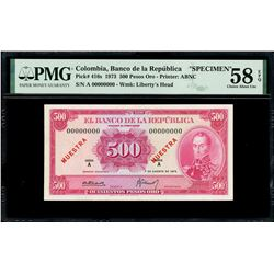 Bogota, Colombia, Banco de la Republica, 500 pesos oro specimen, 7-8-1973, series A, PMG Choice AU 5