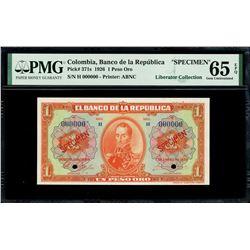 Bogota, Colombia, Banco de la Republica, 1 peso oro specimen, 1-1-1926, series H, PMG Gem UNC 65 EPQ