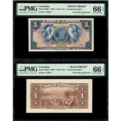 Bogota, Colombia, Banco de la Republica, 1 peso oro front and back proofs, 6-8-1938, PMG Gem UNC 66