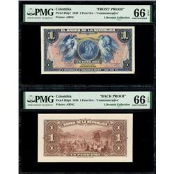 Bogota, Colombia, Banco de la Republica, 1 peso oro front and back proofs, 6-8-1938, PMG Gem UNC 66
