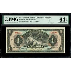 El Salvador, Banco Central de Reserva, 1 colon, 14-1-1943, series E, serial 2487211, with black 10-1