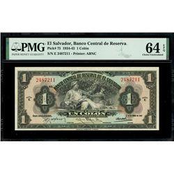 El Salvador, Banco Central de Reserva, 1 colon, 14-1-1943, series E, serial 2487211, with black 10-1