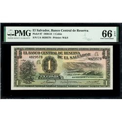 El Salvador, Banco Central de Reserva, 1 colon, 17-3-1954, series UA, serial 4829578, with 15-10-195