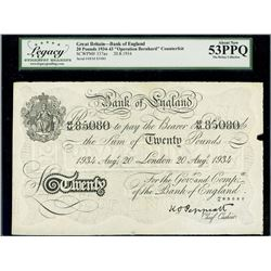 London, Great Britain, Bank of England, Operation Bernhard counterfeit 20 pounds, 20-8-1934, block 4