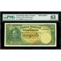 Guatemala, Banco Central, specimen 100 quetzales, 1-7-1926, very rare, PMG Choice UNC 63, finest and