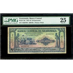 Guatemala, Banco Central, 20 quetzales, 3-9-1943, serial A629788 / 380436, PMG VF 25.