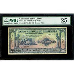 Guatemala, Banco Central, 20 quetzales, 3-9-1943, serial A629788 / 380436, PMG VF 25.