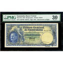 Guatemala, Banco Central, 20 quetzales, 1-2-1945, serial A122748 / 623513, sub-gerente at right, ver
