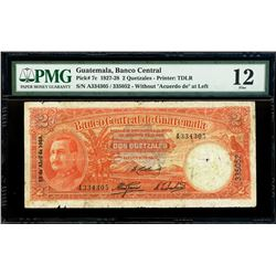 "Guatemala, Banco Central, 2 quetzales, 13-4-1928, serial A334305 / 335052, without ""Acuerdo de"" at l"