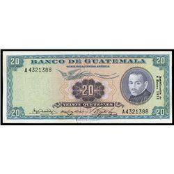 Guatemala, Banco de Guatemala, 20 quetzales, 6-1-1971, serial A4321388.