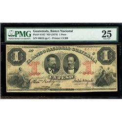 "Guatemala, Banco Nacional, 1 peso, no date (1874), serial 66018, very rare, PMG VF 25 (""top pop"")."