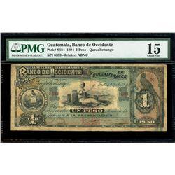 Guatemala City, Guatemala, Sucursal Guatemala del Banco de Occidente, 1 peso, 16-7-1894, serial 8393