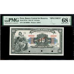 Lima, Peru, Banco Central de Reserva, specimen 10 pesos, 15-11-1946, series C36, PMG Superb Gem UNC