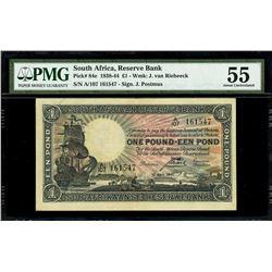 Pretoria, South Africa, South African Reserve Bank, 1 pound, 10-4-1941, serial A/107 161547, signatu