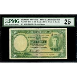 Salisbury, Southern Rhodesia, South Rhodesia Currency Board, 1 pound, 1-9-1950, serial B/132 044619,