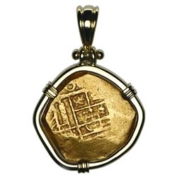 Seville, Spain, cob 2 escudos, Philip III, assayer D, mounted cross-side out in 18K bezel with shack