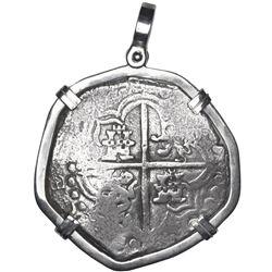 Potosi, Bolivia, cob 8 reales, Philip III, assayer T, Grade 1, ex-Atocha (1622), mounted cross-side