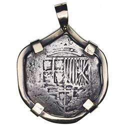 Potosi, Bolivia, cob 2 reales, Philip III, assayer not visible, Grade 2, ex-Atocha (1622), mounted c