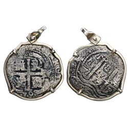 Potosi, Bolivia, cob 8 reales, 1679V, ex-Consolacion (1681), mounted cross-side out in silver bezel