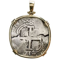 Potosi, Bolivia, cob 8 reales, 1714Y, ex-1715 Fleet, mounted cross-side out in 14K gold bezel with s