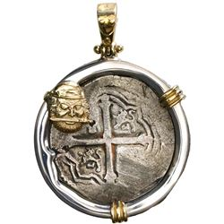 Mexico City, Mexico, cob 4 reales, Philip IV, assayer P, mounted cross-side out in silver bezel with