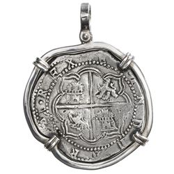 Potosi, Bolivia, cob 8 reales, Philip II, assayer A, mounted cross-side out in silver bezel with sha