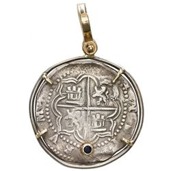 Potosi, Bolivia, cob 2 reales, Philip II, assayer B (3rd period), mounted cross-side out in silver b