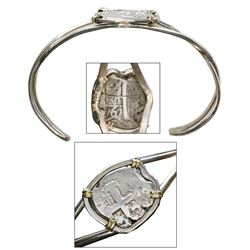 Potosi, Bolivia, cob 2 reales, 1767V-(Y), mounted cross-side out in silver bezel with 14K gold prong