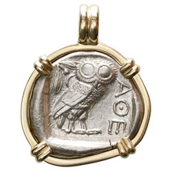 """Attica, Athens, AR tetradrachm, 454-404 BC, """"owl,"""" mounted owl-side out in 14K gold bezel."""